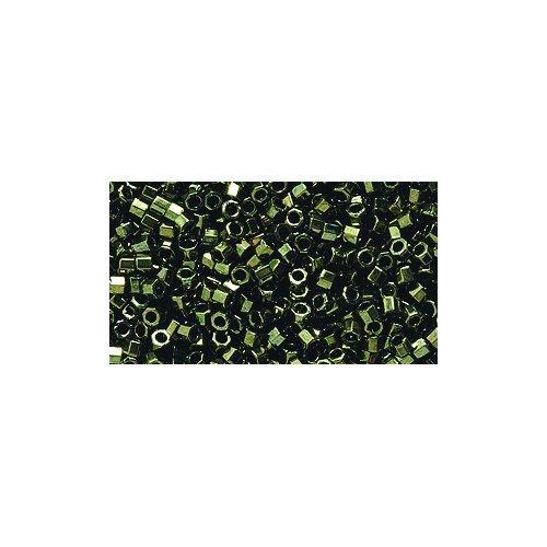 Miyuki Delica Hex Seed Bead 11/0 DBC0011, Metallic Olive, 9-Gram/Pack ()