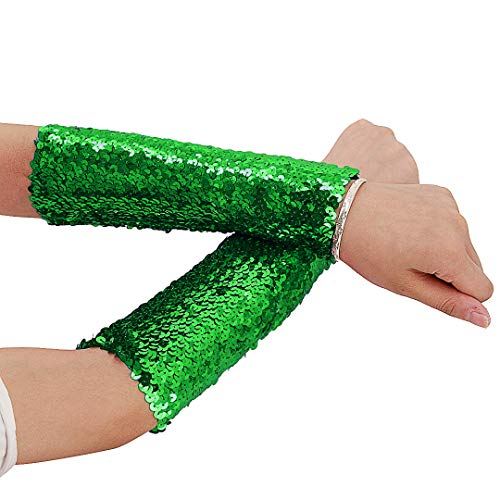 Ladies Sparkle Cuff Glove - Novia's Choice Women Shiny Sequin Stretchy Oversleeves Sparkle Performance Cosplay Costume Cuffs(Green)