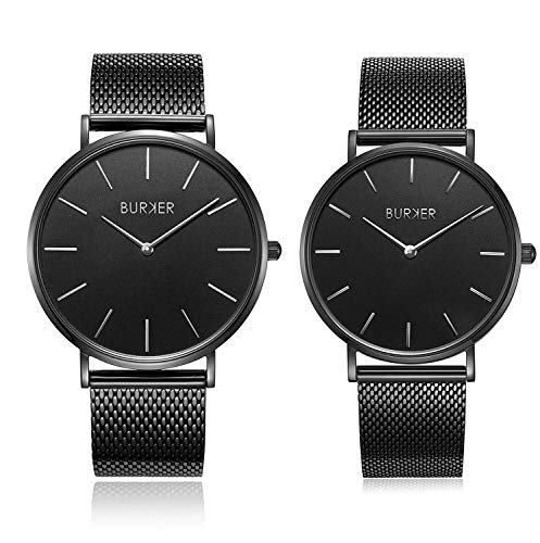 BURKER Adam & Eve Men and Women Watch Gift Set - Matching Waterproof Couple Wristwatch - Stainless Steel Quartz Watches with Adjustable Strap - Fashionable Modern Design Gadgets - Silver and Black