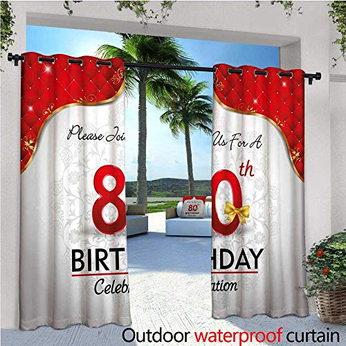 cobeDecor 80th Birthday Patio Curtains Birthday Party Invitation with Abstract Floral Backdrop Elderly Outdoor Curtain for Patio,Outdoor Patio Curtains W108 x L96 Red Silver and Golden ()