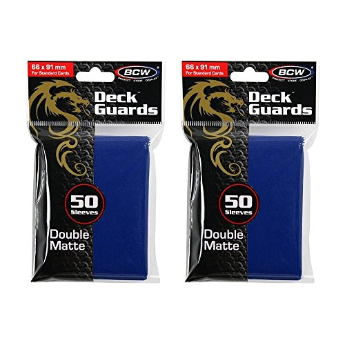 BCW Double Matte Deck Guard Game Card Sleeve Protector | Matte Blue | 100-Count