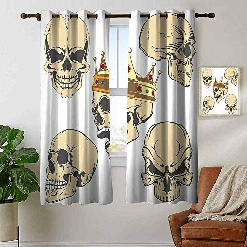 petpany Bedroom Curtains 2 Panel Sets Skull,Skulls Different Expressions Evil Face Crowned Death Monster Halloween Print,Sand Brown Yellow,Complete Darkness, Noise Reducing Curtain 42