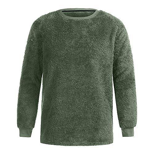 QBQCBB Men Autumn Winter Top Casual O-Neck Loose Warm Double-Sided Plush T-Shirt(Army Green,M)