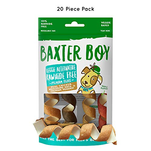 Baxter Boy Twists Premium Natural Dog Treats Chews with Real Chicken Duck & Chicken Liver - Rawhide Free, 20 Pieces (5 Packs with 4 per Pack) - Gourmet Quality Fresh & Tasty ()
