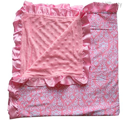 Soft and Cozy Large Minky blanket - Pink Damask with pink Satin - Blanket Satin Ruffle
