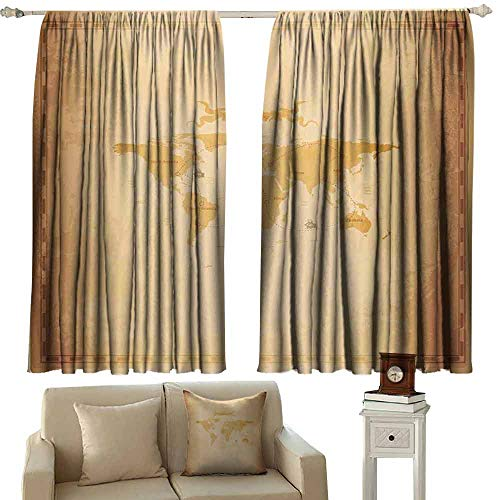 - DUCKIL Heat Insulation Curtain World Map Rustic Antique Vintage Explorer Routes Compass Figure Grungy Display Noise Reducing Curtain W63 xL72 Pale Coffee Sand Brown