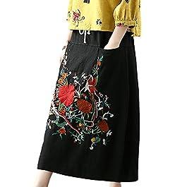 YESNO E07 Women Girl Denim Skirts Lagenlook Handcraft Embroidery Elastic Waist Drawstring