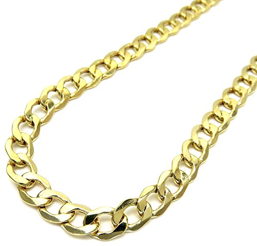10K Yellow Gold Men Women's 7.5 MM Hollow Cuban Chain Lobster Clasp, 18 to 24 Inches by Jawa Fashion