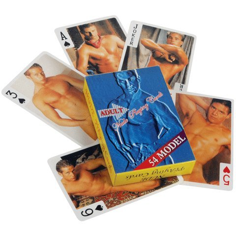 Adult nude male playing cards