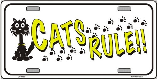 Number Rules Cat (Smart Blonde Cat's Rules Novelty Vanity Metal License Plate Tag Sign)
