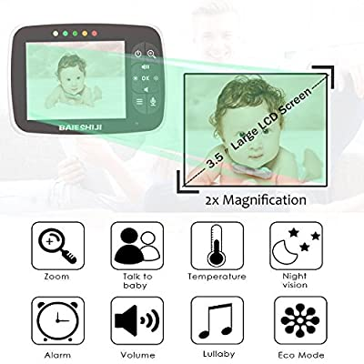 """Baby Monitor, Video Baby Monitor 3.5"""" Large LCD Screen Baby Monitors with Camera and Audio Night Vision Two Way Talk Temperature Sensor ECO Mode Built-in Lullabies Support Multi Camera"""