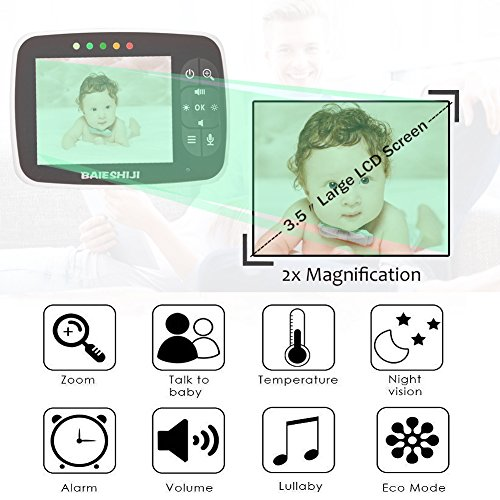 Baby Monitor, Video Baby Monitor 3.5'' Large LCD Screen, Baby Monitors with Camera and Audio Night Vision,Support Multi Camera,ECO Mode,Two Way Talk Temperature Sensor,Built-in Lullabies (3.5 inch) by BAIESHIJI (Image #1)