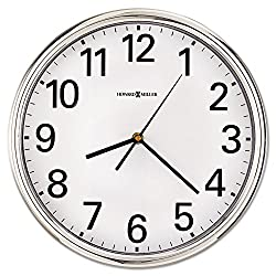 Howard Miller 625561 Hamilton Wall Clock, 12-Inch, Silver, 1 AA