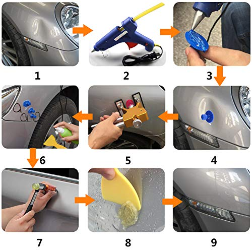 YOOHE 59 PCS Auto Body Paintless Dent Repair Tool Kits – Gold Dent Lifter Dent Puller Kit with LED Light Line Board for Car Dent Removal and Hail Damage by Yoohe (Image #6)