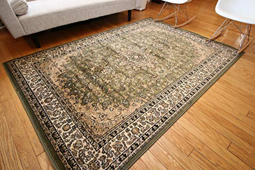 Feraghan/New City Traditional Isfahan Wool Persian Area Rug, 8' x 10', Sage Green