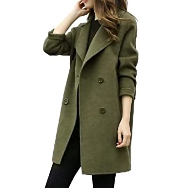 Chic Womens Lapel Double Breasted Long Trench Coat Outwear College Casual Jacket