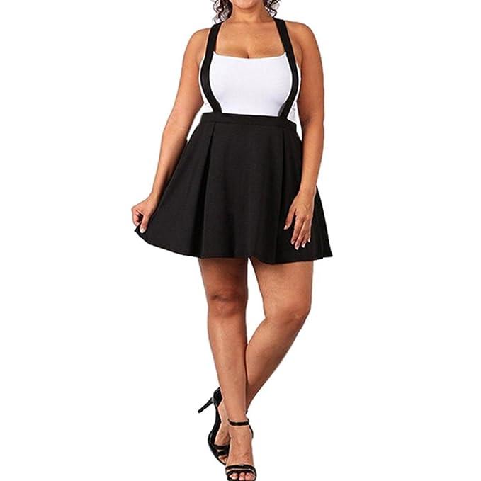 Faldas Tallas Grandes Tirantes Faldas De Plisada Negro Faldas Cortas Mujer  Verano Faldas Altas De Cintura dee1a5288894
