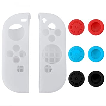 eXtremeRate Silicone Case Gel Guards for Nintendo Switch Joy-Con Controller  with 3 Pairs Thumb Stick Caps Protection Kits White