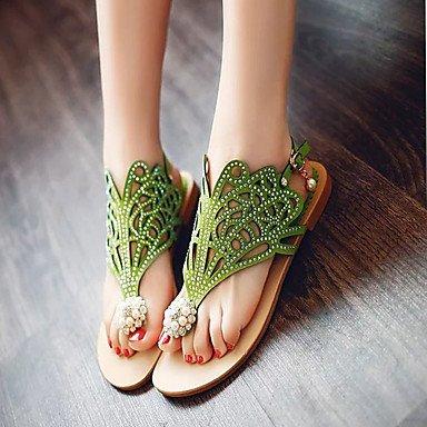 LvYuan Mujer-Tacón Plano-Confort Zapatos del club-Sandalias-Oficina y Trabajo Vestido-PU-Negro Morado Verde Oscuro Dark Green