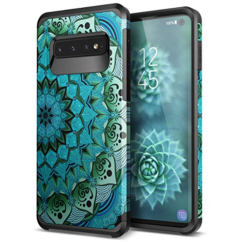 - Galaxy S10 case - SmartLegend Slim Heavy Duty Protective Armor Hybrid Dual Layer Shockproof Case for Samsung Galaxy S10 6.1 inch-Blue Lotus