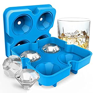 Kingtree Ice Cube Tray with Lids, BPA-Free Silicone Diamond-Shaped Ice Mold Easy Release Stackable Ice Cubes Maker Multifunctional Storage Container for Whiskey, Candy, Chocolate, Jelly - Blue