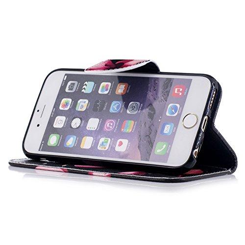 Para Apple iPhone 6/6S(4.7 Zoll) funda, (Bailarina de mariposas) caja del teléfono de la PU patrón en pintado ,Función de Soporte Billetera con Tapa para Tarjetas soporte para teléfono Loto