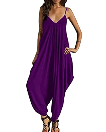 202d202723ef PengGeng Womens Plain Harem Suit Cami Strappy Oversized Jumpsuit Playsuit  Romper Purple XL  Amazon.co.uk  Clothing
