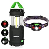 LED Camping Lantern, Morpilot Portable Outdoor Lantern COB Light Battery Powered with Fluorescent Handles for Hiking, Emergencies, Hurricanes, Outages, Storms