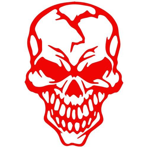 Hardcore Skull Decal Sticker (red, 5 inch)