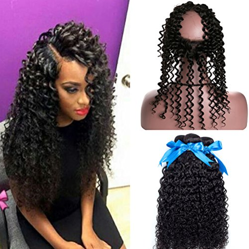 Amazon.com   GEFINE Hair Pre Plucked 360 Lace Frontal Closure with Bundles  Peruvian Virgin Hair Curly Weave Wave Human Hair with 360 Closure Free Part  ... 13a31f4deba8