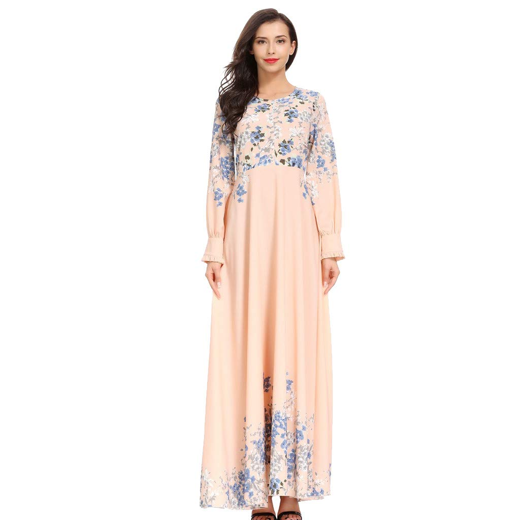 ZHENBAO Women High Waist Floral Muslim Long Sleeve Arab Dress Party Long Maxi Dress Pink