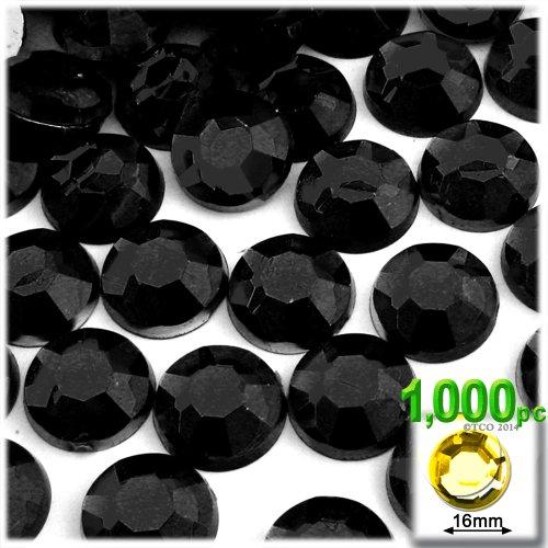 The Crafts Outlet 1000-Piece Flatback Acrylic Round Rhinestones, 16mm, Jet Black ()