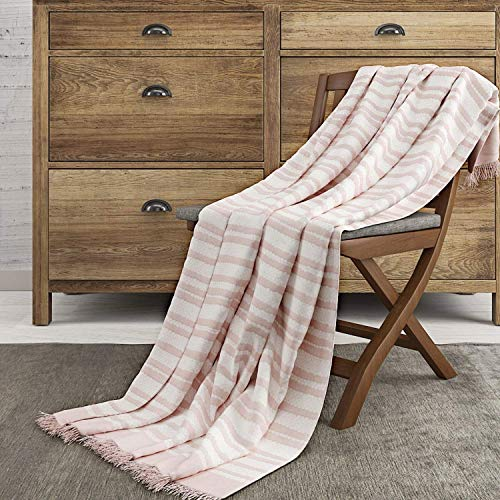 (The Wish Tree Co. 50x60, Pink Luxury Knitted Cotton Stripe Throw Blanket with Fringe-Super Soft, Warm, Lightweight (500 Grams) & Large for Bed, Chair, Couch, Sofa, Camping, Beach Or Travel)