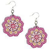 Green Tree Handmade Laser Cut Wood Dangle Earrings Mandala GT-1521 Pink
