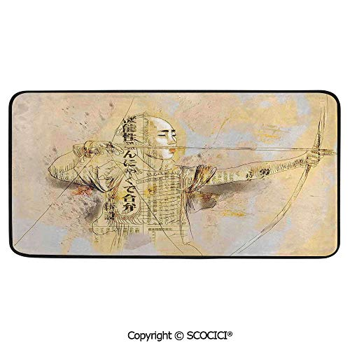 (Rectangle Rugs for Bedside Fall Safety, Picnic, Art Project, Play Time, Crafts, Large Protective Mat, Thick Carpet,Japanese,Archer in a Combat Hand Drawn Modern Martial Art Asian War,39
