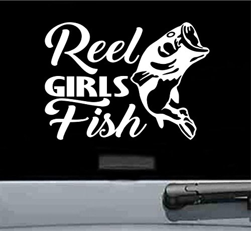 Reel girls fish Vinyl Decal Sticker (WHITE)