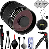 Opteka 500mm f/8 Manual Focus High Definition Telephoto Sports & Wild Life Mirror Lens for Canon EOS 80D, 77D, 70D, 60D, 7D, 6D, 5D, 7D Mark II, T7i, T6s, T6i, T6, T5i, SL1 & SL2 Digital SLR Cameras