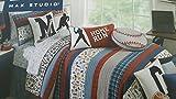 Max Studio All Star Sports Standard Cotton Reversible Pillow Sham - Baseball, Hockey, Soccer, Baseball, Basketball Plaid Red Blue White