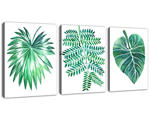Canvas Wall Art Green Leaf Picture 3 Pieces Small Contemporary Canvas Art Watercolor Painting Prints Tropical Plants Canvas Artwork Wall Decor for Bathroom Living Room Bedroom 12