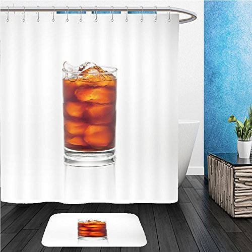 Beshowereb Bath Suit: ShowerCurtian & Doormat glass of ice tea isolated on white (Pattern Iced Tea)