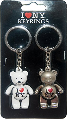 I Love New York Pack of 2 Silver and White Moving Parts Bear Keychains