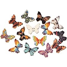 HOUSWEETY 100PCs Wooden Buttons Butterfly Shape Mixed Color 2-hole Sewing Scrapbook DIY