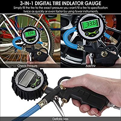 Dealpeak Heavy Duty Digital Tire Inflator with Pressure Gauge, Air Chuck and Rubber Hose Deflator Compressor Accessories 250 PSI 0.1 Display Resolution Quick Connect for Truck Car Bike Motorcycle: Automotive