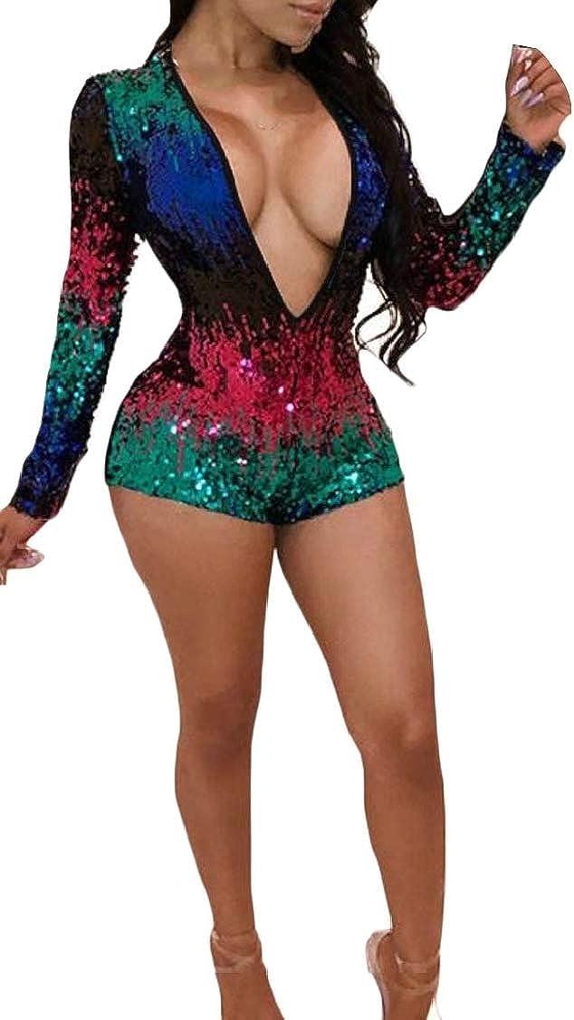 Lutratocro Womens Deep V-Neck Contrast Color Club Short Slim Sequins Bodysuit Jumpsuits