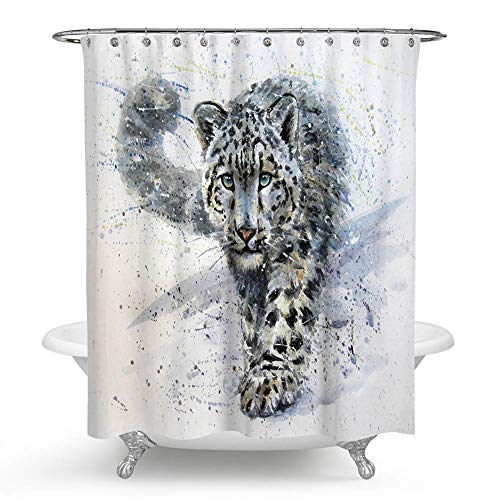 - QCWN Animal Shower Curtain, Watercolor Leopard Walking on The Snow Blue Wild Kostart Polyester Waterproof Shower Curtain Set with Hooks for Bathroom Decor.Multi 59x70Inc