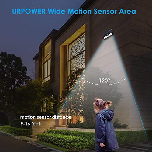URPOWER Solar Lights, 44 LED Waterproof Motion Sensor Lights Outdoor Wireless Solar Powered Wall Light Motion Activated Auto On/Off Solar Security Lights Outdoor for Fence Patio Deck Yard Cool White by URPOWER (Image #4)