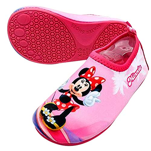 (Joah Store Minnie Mouse Water Shoes Reinforced Toe Barefoot Aqua Socks Pink Shoes for Girls Runs Small (8 M US Toddler, Minnie Mouse_C))