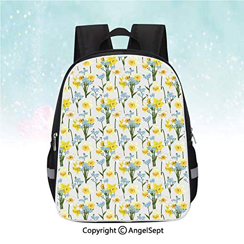 Schoolbag for Kids,Forget Me Not Flowers and Daffodil Blossom Leaf Bouquet Spring Garden Art Print,13