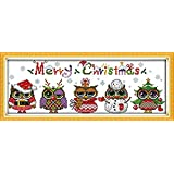 Beverly Stamped Cross Stitch Kit Chistmas Owls