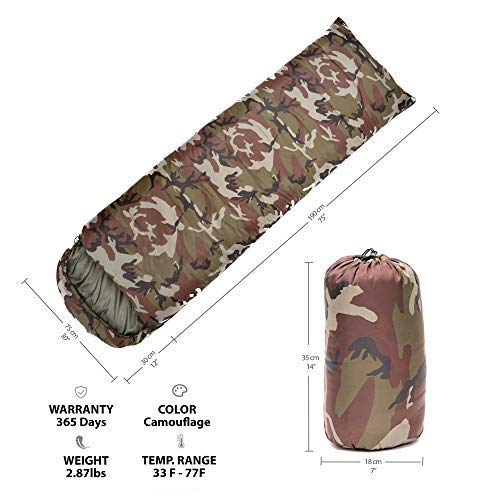 CM&A Camouflage Sleeping Bag – Lightweight and Compact for Camping, Hiking, Backpacking for Adults & Kids- 3 Season Warm Military Sleeping Bag